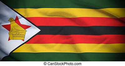 Zimbabwe Flag - Wavy and rippled national flag of Zimbabwe...