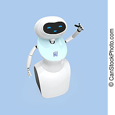 Humanoid robot with touch screen isolated on light blue...