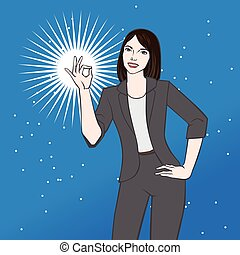 Asian woman showing ok vector illustration
