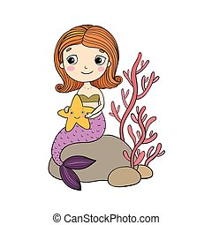 Beautiful little mermaid with a starfish sitting on a stone.