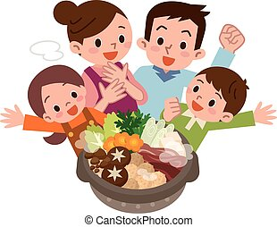 Smile of family rejoice in Casserole - Vector...