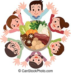 Smile of the large family that rejoice in casserole - Vector...
