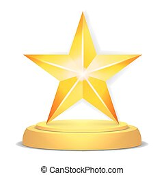 Gold Star Award. Shiny Vector Illustration. Modern Trophy, Challenge Prize. Beautiful Label Design. Isolated