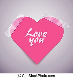 Pink heart sticker attached with a scotch tape. - Cute pink...