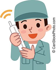 Men dressed in work clothes in a phone - Vector...