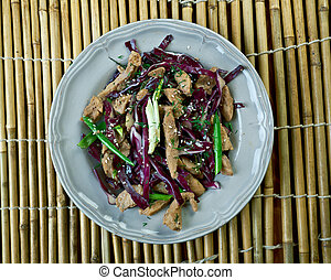 Moo shu pork dish of northern Chinese. American Chinese...