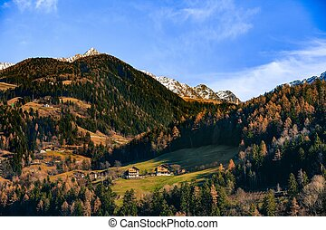 idyllic landscape in alps with mountain chalet. Dolomites...