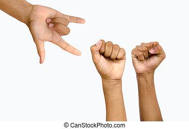 Amor, vitória, mão