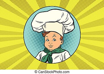 boy in white chefs hat. Pop art retro vector illustration
