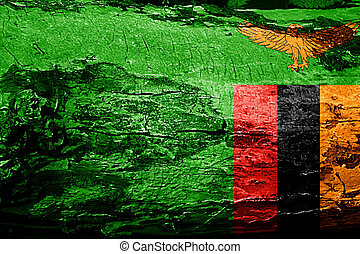 Zambia flag with grunge texture