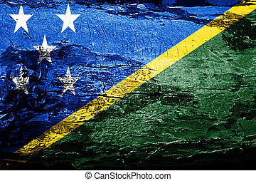 Solomon islands flag with grunge texture