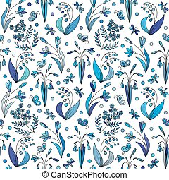 Beautiful vintage seamless pattern with colorful wild spring...