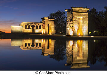 Temple of Debod illuminated at night in Madrid Spain
