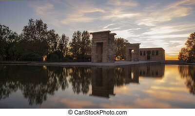Temple of Debod at sunset - Sunset over the temple of Debod...