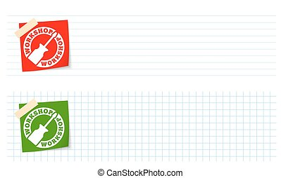 Two banners with lined paper, graph paper and workshop icon