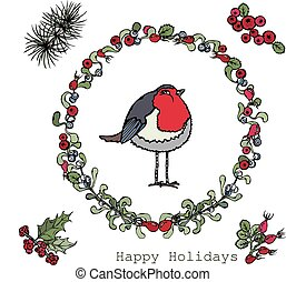 Squared Wreath with Berries, Leaves and Red Robin, Vector...