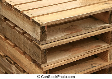 Wood Pallet - Set of Wood pallet stack together - texture...