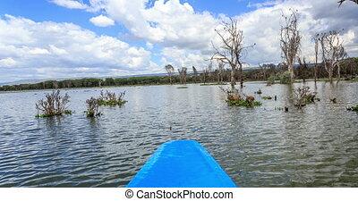 Naivasha lake cruise by blue canoe, Kenya, East Africa