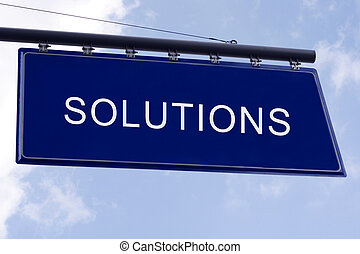 Solutions concept in a street direction in blue