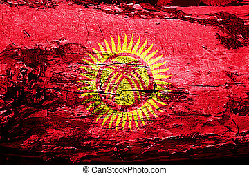 Kyrgyzstan flag with grunge texture