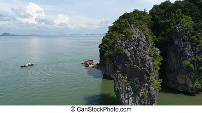 Aerial view of James Bond island and beautiful limestone...