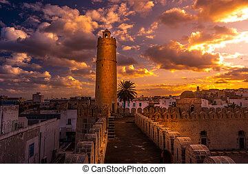 View from the walls of the fortress of Ribat of Sousse in...