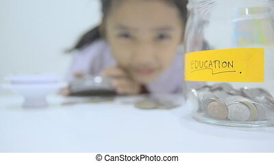 HD-Close up shot of Asian little girl in Thai student...