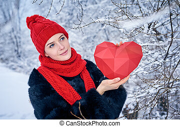 Love and valentines day concept. Pensive smiling woman...