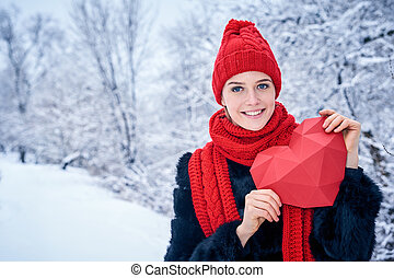 Love and valentines day concept. Portrait of smiling woman...