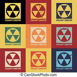 Fallout Shelter. Vintage Nuclear Symbol. Radioactive Zone Sign. Vector Illustration