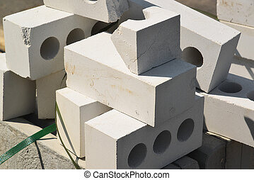 White Brick silicate hollow construction outdoor