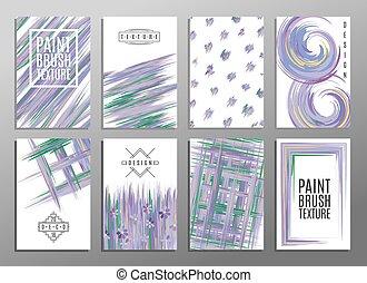 Set of artistic creative universal cards. Paint brash...