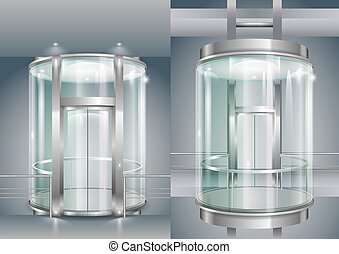 Glass enclosed elevator - Glass modern elevator cylindrical...