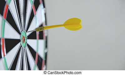 HD-Close up shot of yellow and red dart arrow hit the...