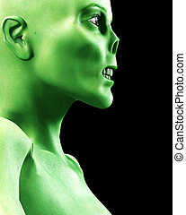 Zombie Profile - A side on view of a scary zombie