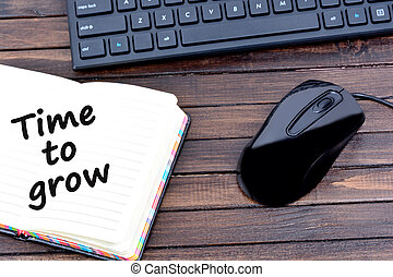 Time to grow words on notebook