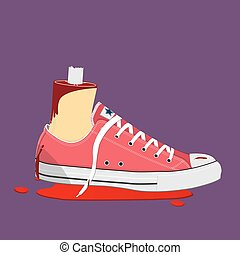 Bloody Halloween parts - cutting foot wearing sneaker with blood stain.