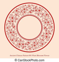 Ancient Chinese Pattern of Plum Blossom Flower