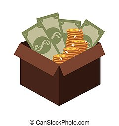 box with coins and bills icon