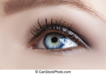 blue woman eye with beautiful brown shades - Close-up of...