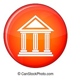 Colonnade icon, flat style - Colonnade icon in red circle...