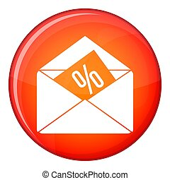Envelope with percentage icon, flat style - Envelope with...