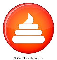 Turd icon, flat style - Turd icon in red circle isolated on...