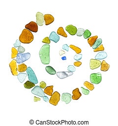 sea glass peices on white - backlit sea glass peices...