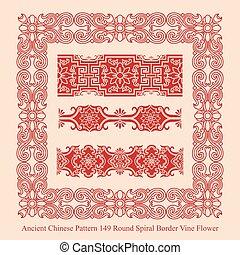 Ancient Chinese Pattern of Round Spiral Border Vine Flower