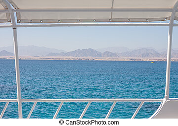 Egypt mountain and water landscape view from yacht