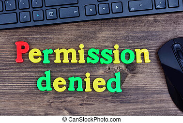 Permission denied words on table