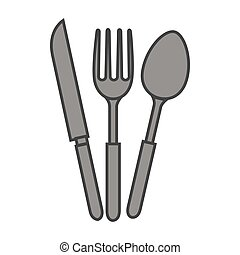 set cutlery kitchen tool isolated icon
