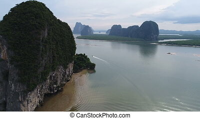 Aerial view Phang Nga Bay Marine National Park protected and...