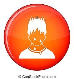 Sweaty man icon, flat style - Sweaty man icon in red circle...